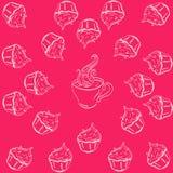 Φλυτζάνι και κέικ σχεδίων στοκ εικόνα με δικαίωμα ελεύθερης χρήσης