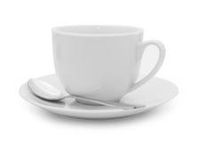 Φλυτζάνι και κουτάλι καφέ πέρα από το λευκό Στοκ Εικόνες