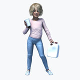 Φλυτζάνι και contatiner 1 εκμετάλλευσης μικρών κοριτσιών Στοκ εικόνες με δικαίωμα ελεύθερης χρήσης