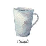 Φλυτζάνι καφέ, απεικόνιση watercolor στην άσπρη σειρά εργαλείων κουζινών Στοκ φωτογραφία με δικαίωμα ελεύθερης χρήσης