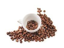 Φλυτζάνι καφέ και φασόλια καφέ Στοκ Φωτογραφίες