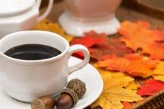 Φλυτζάνι καφέ, καφές, κύπελλο ζάχαρης, καράφα, βελανίδια, κολοκύθα, και φύλλα ΙΙ πτώσης στοκ φωτογραφίες