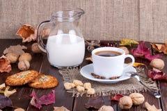 Φλυτζάνι καφέ, κρέμα, σιτάρια καφέ και oatmeal μπισκότα Στοκ Εικόνα