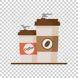 Φλυτζάνι καφέ με τα φασόλια καφέ στο απομονωμένο υπόβαθρο Επίπεδο διάνυσμα Στοκ φωτογραφία με δικαίωμα ελεύθερης χρήσης