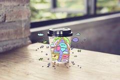 Φλυτζάνι καφέ με το ψηφιακό σκίτσο μάρκετινγκ Στοκ Εικόνες
