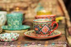 Φλυτζάνι καφέ πορσελάνης ύφους εκλεκτής ποιότητας Ταϊλανδού χειροποίητο Όμορφο TR Στοκ Εικόνες