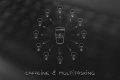 Φλυτζάνι καφέ που περιβάλλεται από τις ιδέες περιστροφής lightbulb Στοκ Εικόνες