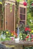 Φλυτζάνι καφέ στον κήπο κατωφλιών στοκ εικόνες