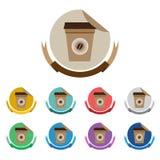 Φλυτζάνι καφέ στο επίπεδο σύνολο ετικετών χρώματος Στοκ Φωτογραφία