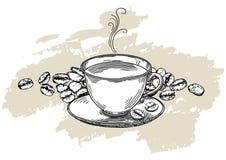 Φλυτζάνι καφέ στο υπόβαθρο με τα φασόλια καφέ απεικόνιση αποθεμάτων