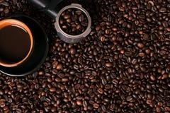φλυτζάνι καφέ φασολιών αν&alph Τοπ όψη Στοκ εικόνα με δικαίωμα ελεύθερης χρήσης