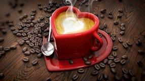 Φλυτζάνι μορφής καρδιών με τα φασόλια latte και καφέ στοκ εικόνα με δικαίωμα ελεύθερης χρήσης
