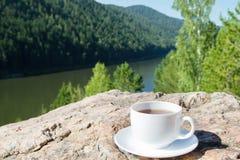 Φλυτζάνι στο βράχο στη θέα βουνού στοκ εικόνα με δικαίωμα ελεύθερης χρήσης