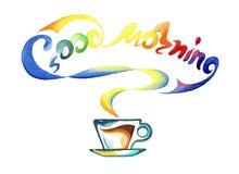 Φλυτζάνι του ζεστού ποτού και της καλημέρας λέξεων διανυσματική απεικόνιση