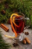Φλυτζάνι του θερμαμένων κρασιού και της κανέλας Στοκ Εικόνα