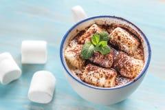 Φλυτζάνι του κακάου με marshmallows και τη σκόνη κακάου Στοκ φωτογραφία με δικαίωμα ελεύθερης χρήσης