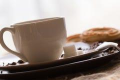 Φλυτζάνι του καυτού καφέ espresso, και μπισκότο Στοκ φωτογραφία με δικαίωμα ελεύθερης χρήσης