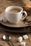 Φλυτζάνι του καυτού καφέ espresso, και μπισκότο Στοκ Εικόνα
