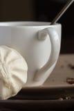 Φλυτζάνι του καυτού καφέ espresso, και μπισκότο Στοκ εικόνες με δικαίωμα ελεύθερης χρήσης