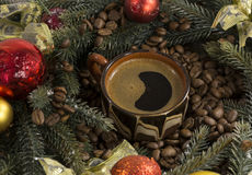 Φλυτζάνι του μαύρου ισχυρού καφέ, πράσινοι κλάδοι των ερυθρελατών, bea καφέ στοκ φωτογραφία με δικαίωμα ελεύθερης χρήσης