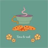 Φλυτζάνι του τσαγιού με τα μπισκότα και τα λεμόνια Στοκ Εικόνες