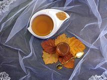 Φλυτζάνι του τσαγιού με το μέλι στοκ εικόνα