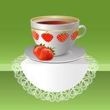 Φλυτζάνι του τσαγιού φραουλών Στοκ Εικόνα