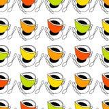Φλυτζάνι του τσαγιού, φλιτζάνι του καφέ, κουτάλι Ελεύθερη απεικόνιση δικαιώματος