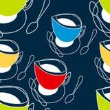 Φλυτζάνι του τσαγιού, φλιτζάνι του καφέ, κουτάλι Απεικόνιση αποθεμάτων