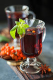 Φλυτζάνι του ashberry τσαγιού με την κανέλα και το γλυκάνισο Στοκ Εικόνες