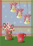 Φλυτζάνι των διακοσμήσεων διακοπών τσαγιού και Χριστουγέννων Στοκ Φωτογραφία