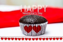 Φλυτζάνι cake2 babana ημέρας του ευτυχούς βαλεντίνου choccolate Στοκ Εικόνες