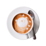 Φλυτζάνι Cappuccino με το πιατάκι που απομονώνεται στο λευκό με το ψαλίδισμα της πορείας Τοπ όψη Στοκ Εικόνα