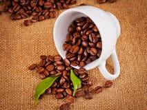 Φλυτζανιών και arabica καφέ φασόλια στο σάκο υφασμάτων Στοκ φωτογραφία με δικαίωμα ελεύθερης χρήσης