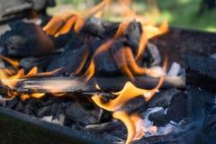 Φλόγα από τον ξυλάνθρακα Στοκ Φωτογραφίες