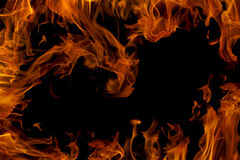 Φλόγα πυρκαγιάς που απομονώνεται στο μαύρο υπόβαθρο Στοκ Εικόνα