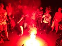 Φλόγα πυρκαγιάς στη συναυλία ορχηστρών ροκ στοκ φωτογραφία με δικαίωμα ελεύθερης χρήσης