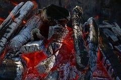 Φλόγα των ξύλινων κώνων φλογών πυρκαγιάς φωτιών στην εστία Στοκ εικόνες με δικαίωμα ελεύθερης χρήσης