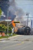 Φλόγες Κεμπέκ λάκκα-Megantic εκτροχιασμού τραίνων στοκ εικόνα