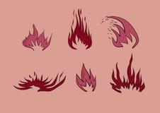 Φλόγες πυρκαγιάς, καθορισμένα εικονίδια Στοκ Εικόνες