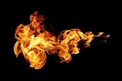 Φλόγες πυρκαγιάς που απομονώνονται στο Μαύρο στοκ εικόνες με δικαίωμα ελεύθερης χρήσης