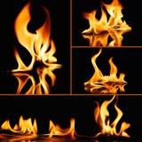 Φλόγες πυρκαγιάς στο Μαύρο Στοκ Εικόνα