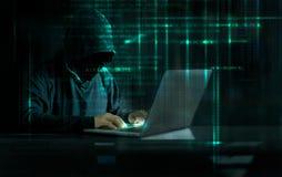 Χάκερ επίθεσης Cyber που χρησιμοποιεί τον υπολογιστή με τον κώδικα στο digita διεπαφών