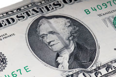 Χάμιλτον ΗΠΑ λογαριασμός δέκα δολαρίων Στοκ Φωτογραφίες
