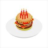 Χάμπουργκερ γενεθλίων με το isometrics κεριών Εορταστικό γρήγορο φαγητό Στοκ Εικόνα
