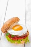 Χάμπουργκερ με τα τηγανισμένα αυγά Στοκ φωτογραφία με δικαίωμα ελεύθερης χρήσης