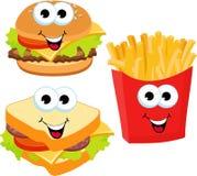 Χάμπουργκερ, σάντουιτς και τηγανιτές πατάτες γρήγορου φαγητού καθορισμένο που απομονώνονται στο άσπρο υπόβαθρο Κινούμενα σχέδια ρ απεικόνιση αποθεμάτων