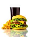 Χάμπουργκερ, τηγανιτές πατάτες και ποτό στοκ εικόνα με δικαίωμα ελεύθερης χρήσης
