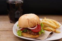 χάμπουργκερ τηγανιτών πατατών στοκ εικόνες με δικαίωμα ελεύθερης χρήσης