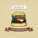 Χάμπουργκερ, burger διανυσματική απεικόνιση γρήγορου φαγητού στο εκλεκτής ποιότητας ύφος, παρουσίαση Στοκ Εικόνες